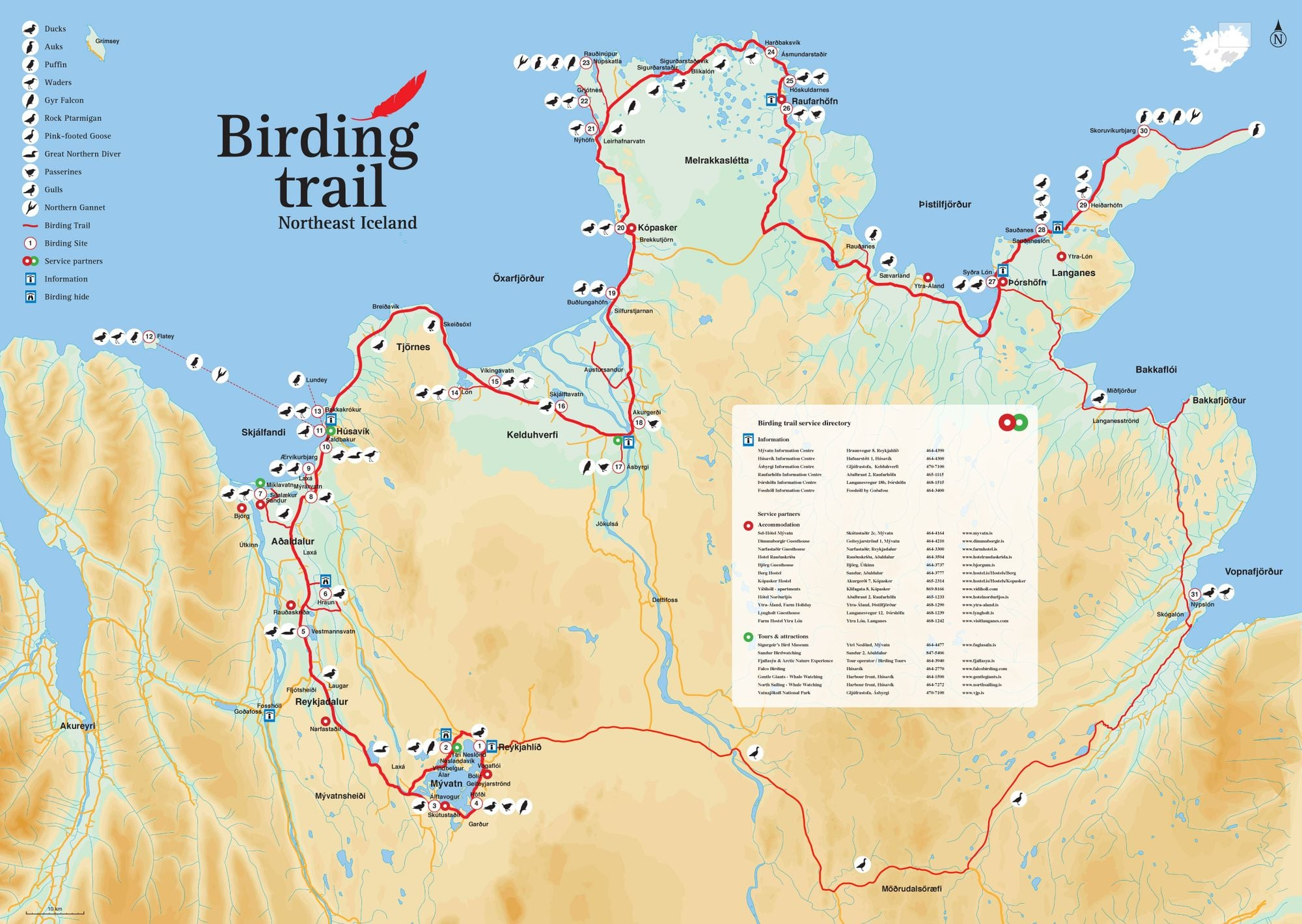 View the Birding Trail map for North East Iceland