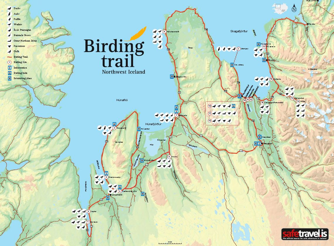 The map for the Birding Trail of Northwest Iceland
