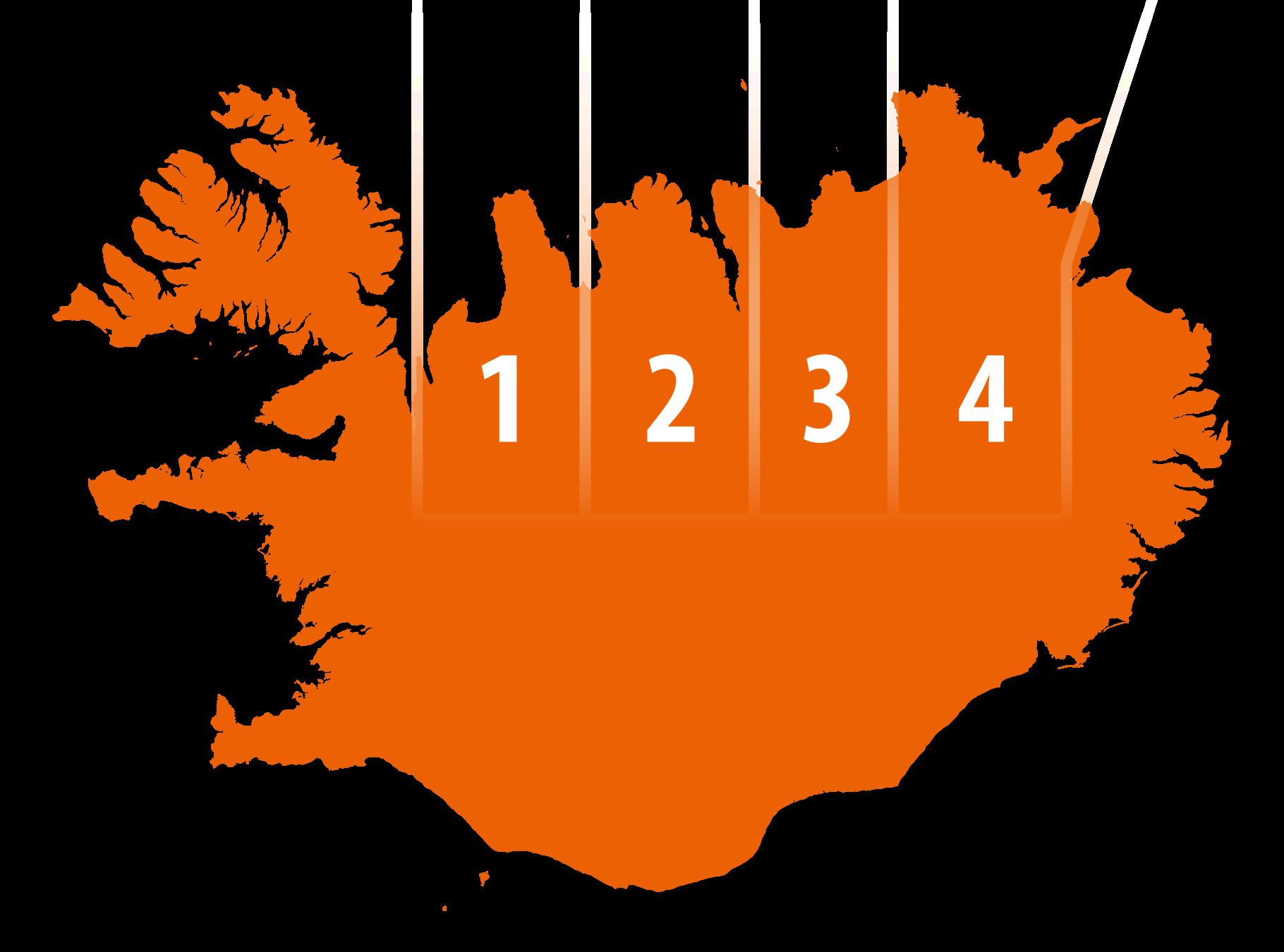 Kort sem sýnir skiptingu Norðurlands í fjögur svæði vegna DMP