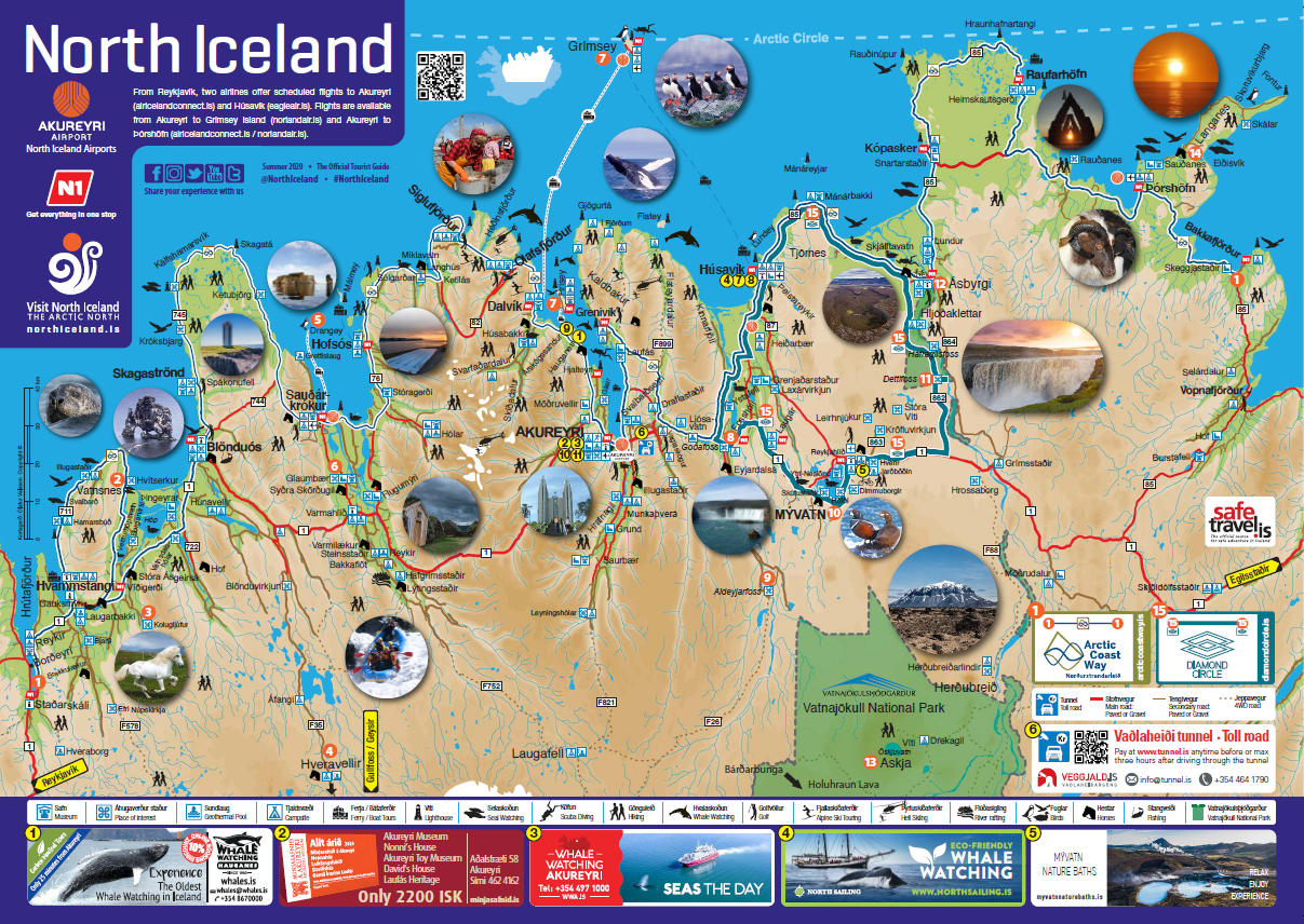 A map og North Iceland showing activities in summer time