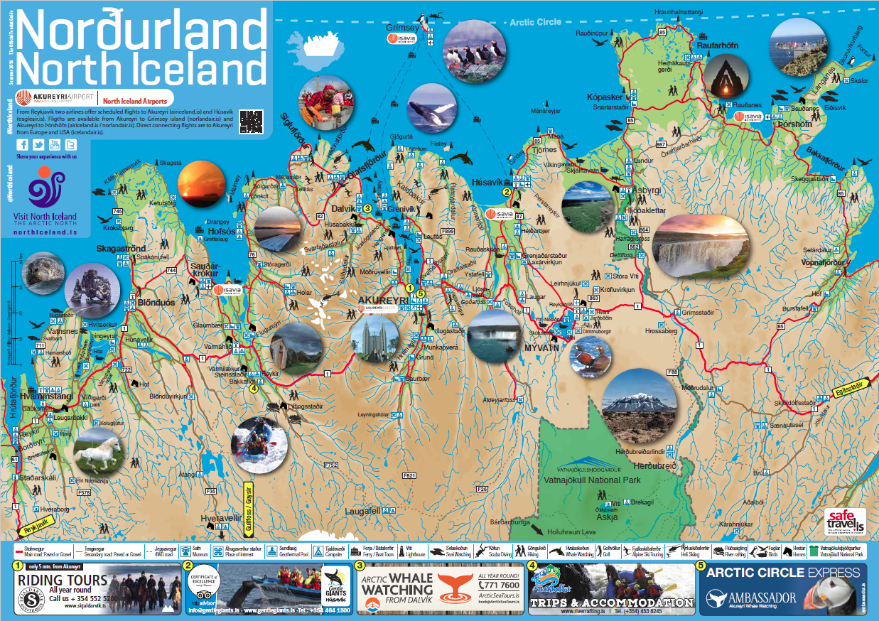 Maps of North Iceland – Iceland Tourist Attractions Map