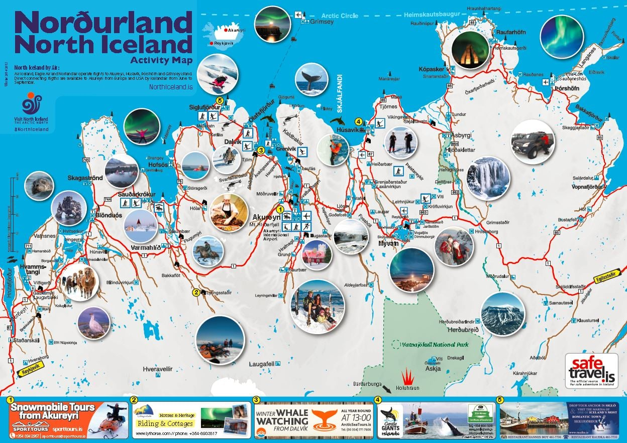 Iceland Map With Tourist Attractions – Tourist Map Of Iceland