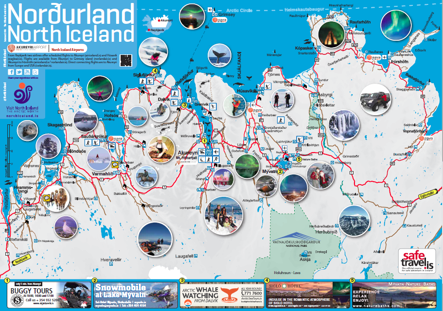 Maps of North Iceland – Map Of Iceland Tourist Attractions