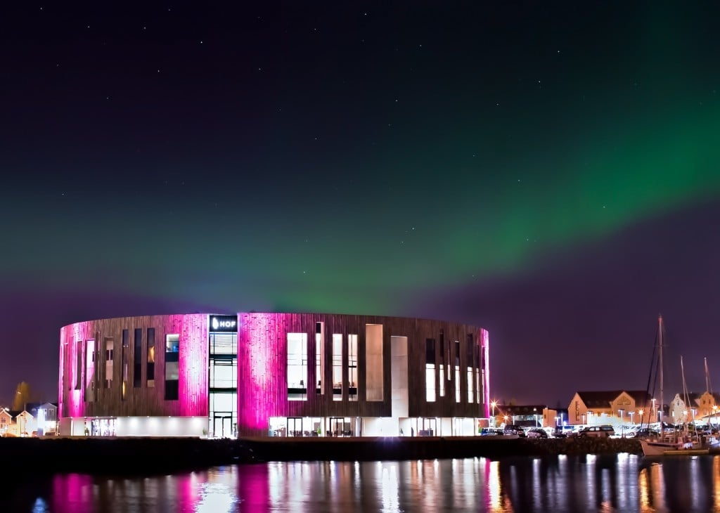 The Northern Lights over Hof Culture House Akureyri