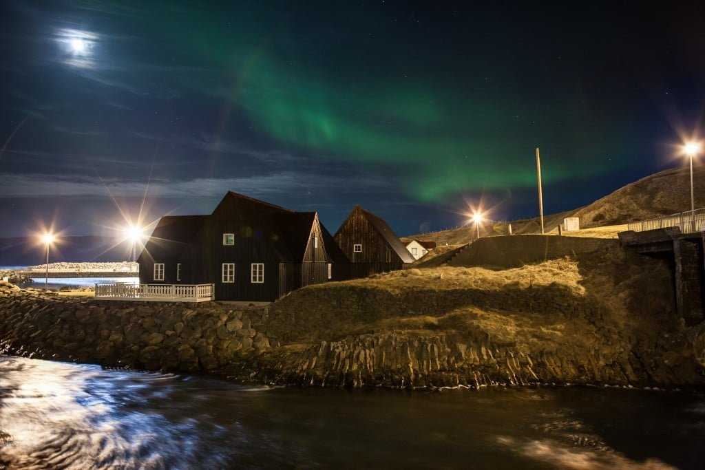 Hofsós during Northern Lights Night