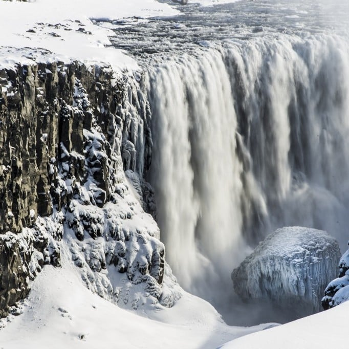 Dettifoss during Winter time