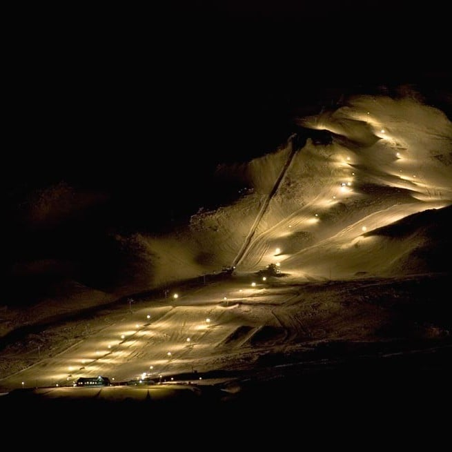During nights time, pitch black skiing