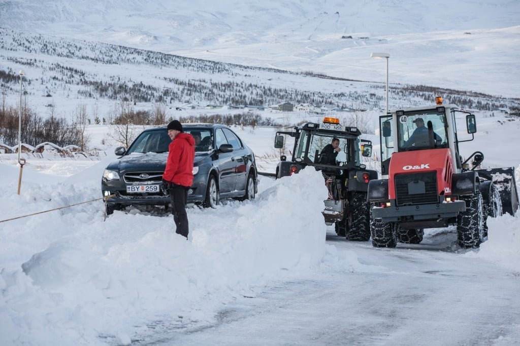 Snow work in North Iceland