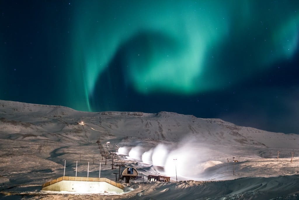Snowmaking in the Northern Lights