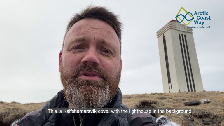 Lighthouse in Kálfshamarsvík and the Battle of the Gulf