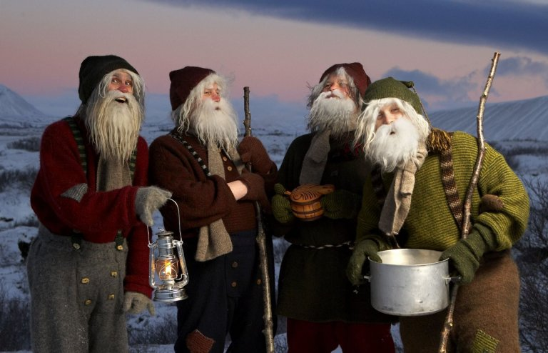 The Yule Lads at Dimmuborgir Lake Mývatn area